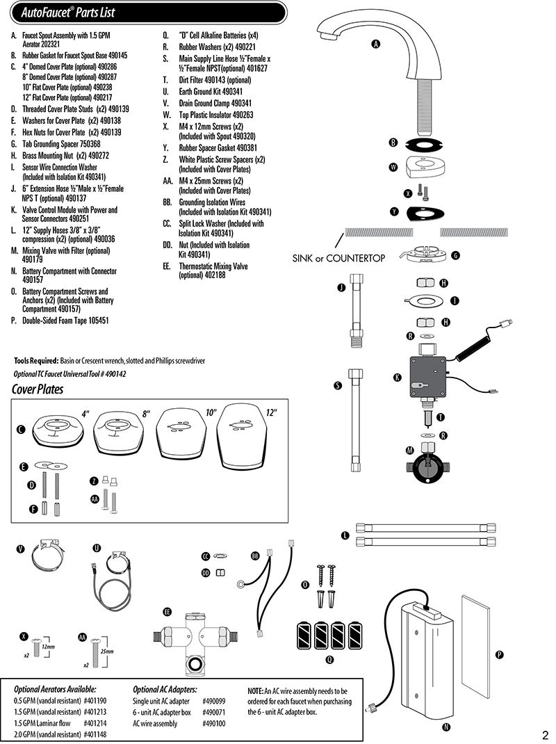 Technical Concepts TC AutoFaucet SST Parts List for Milano Automatic Faucets