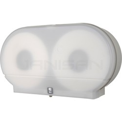 """Palmer Fixture RD0027-03F 9"""" Twin Jumbo Tissue Dispenser with 2 1/4"""" Stub & 3 3/8"""" Adaptors - White Translucent in Color"""