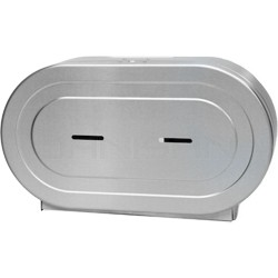 "Palmer Fixture RD0327-09F 9"" Twin Jumbo Tissue Dispenser with 2 1/4"" Stub & 3 3/8"" Adaptors - Brushed Stainless in Color"