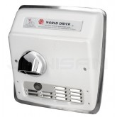World Dryer Model XRA Cast Iron Automatic Recess Mounted Hand Dryer - White