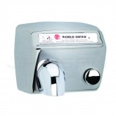 World Dryer Model A Push-Button Surface Mounted Hand Dryer - Brushed Stainless Steel